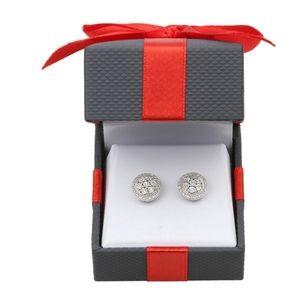 Diamond Cluster Stud Earrings in Sterling Silver